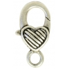 Lobster Clasp 27mm Fancy Antique Silver Heart With Strip Pattern